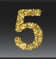 gold glittering number five shining golden vector image vector image