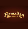 golden ramadan kareem text vector image