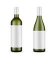 green glass wine bottles mockups with labels vector image vector image