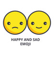 happy and sad emoji line icon sign vector image vector image
