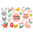 happy easter cute set with easter bunny rabbit vector image vector image
