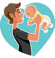 happy father holding his baby cartoon vector image