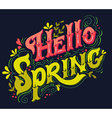 Hello spring Hand drawn vintage lettering with vector image vector image