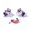 isometric 3d office designers with businessman and vector image