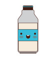 kawaii milk bottle in colorful silhouette vector image