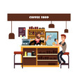 man working in cafe vector image vector image