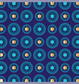 mod blue gold jewish star background pattern vector image