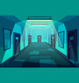 modern office corridor at night cartoon vector image vector image