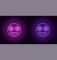 neon stylish emoji in purple and violet color vector image vector image