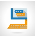 Online training flat color icon vector image