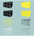 piece of cheese yellow black grey white vector image vector image