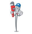 plumber needle mascot cartoon style vector image
