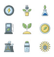 refueling station icons set cartoon style vector image vector image