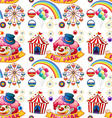 Seamless clown and circus rides vector image vector image