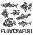 set fish silhouettes with flower pattern vector image