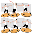 set of discus throwing athletes vector image vector image