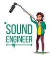 sound engineer man audio recording process vector image
