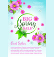 spring holiday sale flowers poster template vector image vector image
