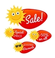 Summer sale labels with smiling sun vector image