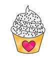 sweet and delicious cupcake isolated icon vector image