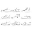teenage shoes in linear style vector image vector image