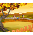 Three kids running along the field vector image vector image