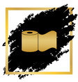 toilet paper sign golden icon at black vector image vector image