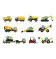 truck bulldozer mixer roller dumper excavator vector image