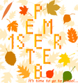 with autumn leaves 1 september vector image