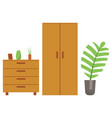 wooden furniture and decoration home vector image vector image