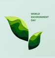world environment day couple of green leaves vector image vector image