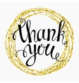 Thank you Hand lettering in a round gold frame vector image