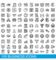 100 business icons set outline style