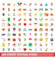100 street festival icons set cartoon style vector image vector image