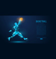 abstract basketball player on blue background vector image vector image