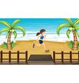An athlete jogging at the seashore vector image vector image
