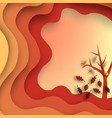 autumn paper cut with leaves and tree abstract vector image