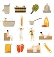 Bath Sauna Spa Flat Icons Set vector image