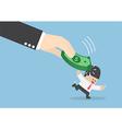 Big hand hit businessman head by dollars banknote vector image