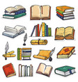 books stack of textbooks and notebooks on vector image vector image