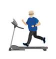cartoon grandfather on a treadmill vector image vector image