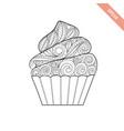 cartoon hand drawn cupcake vector image vector image