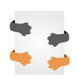 cat hiding behind a poster orange paws and gray vector image vector image