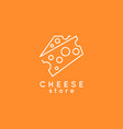cheese line icon cheese store logo on yellow vector image