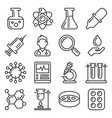 chemistry and science icons set line style vector image vector image