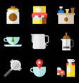 coffee related icon set 4 flat stye vector image vector image