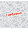 cookbook with kitchen items gray vector image