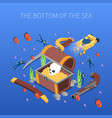 divers sea bottom isometric composition vector image