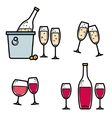 Drinking wine and champagne icon set vector image vector image