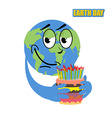 Earth Day Planet earth and cake holiday big cake vector image